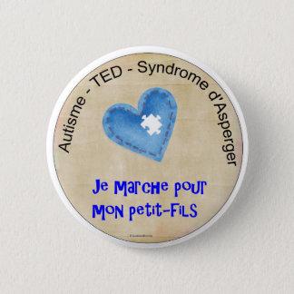 Macaroon I walk for my grandson 2 Inch Round Button