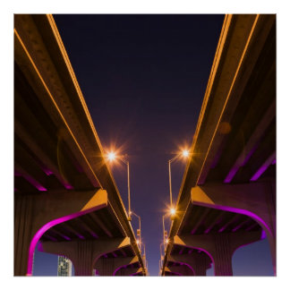MacArthur Causeway seen from underneath at dusk Poster