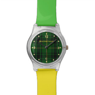 MacArthur Plaid Green and Yellow Wrist Watch