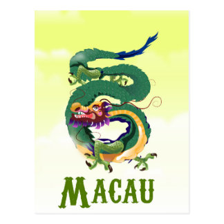 Macau China Vintage style travel poster Postcard