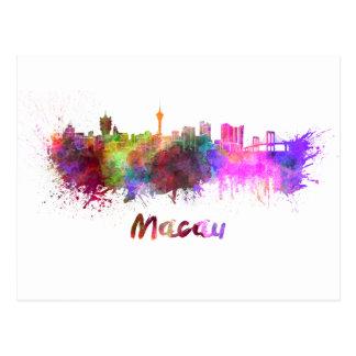 Macau skyline in watercolor postcard