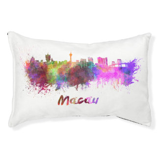Macau skyline in watercolor small dog bed