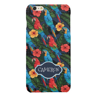 Macaw And Hibiscus Pattern | Add Your Name