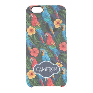 Macaw And Hibiscus Pattern | Add Your Name Clear iPhone 6/6S Case