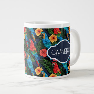 Macaw And Hibiscus Pattern | Add Your Name Large Coffee Mug
