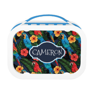Macaw And Hibiscus Pattern | Add Your Name Lunch Boxes