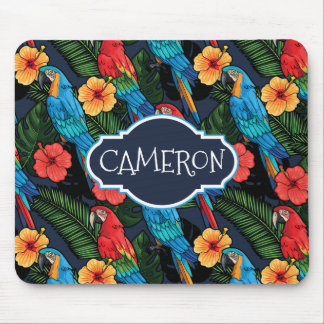 Macaw And Hibiscus Pattern | Add Your Name Mouse Pad