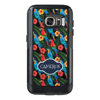 Macaw And Hibiscus Pattern | Add Your Name OtterBox Samsung Galaxy S7 Case