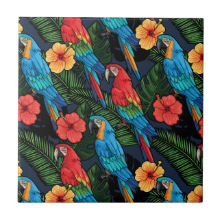 Macaw And Hibiscus Pattern Ceramic Tile