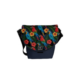 Macaw And Hibiscus Pattern Courier Bag