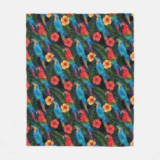 Macaw And Hibiscus Pattern Fleece Blanket