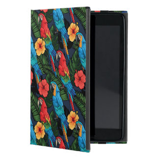 Macaw And Hibiscus Pattern iPad Mini Cases