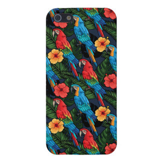 Macaw And Hibiscus Pattern iPhone 5 Case