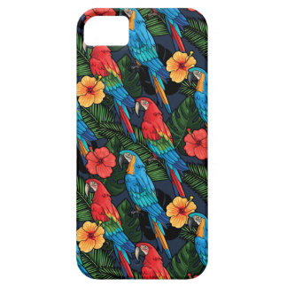 Macaw And Hibiscus Pattern iPhone 5 Cover