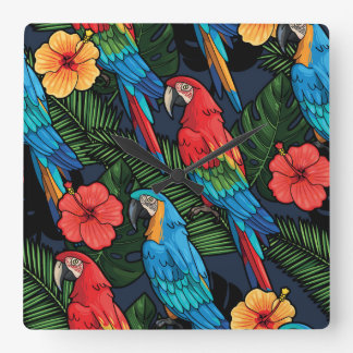 Macaw And Hibiscus Pattern Wall Clocks