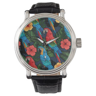 Macaw And Hibiscus Pattern Watch