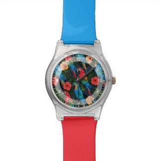Macaw And Hibiscus Pattern Wrist Watch