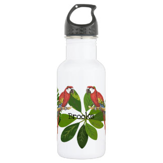 Macaw And Tropical Foliage Personalized 532 Ml Water Bottle