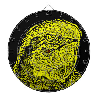 macaw head view graphic yellow outline parrot dartboards