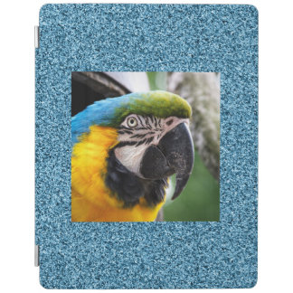 Macaw on teal faux glitter iPad cover