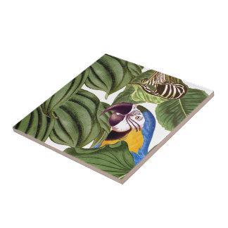Macaw Parrot Bird Wildlife Animal Leaves Tile