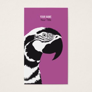 MACAW PARROT BLACK AND WHITE BUSINESS CARD
