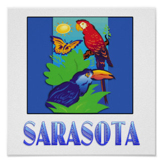 Macaw, Parrot, Butterfly & Jungle SARASOTA Poster