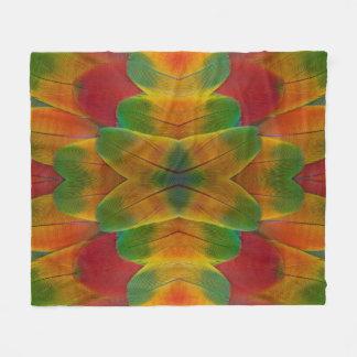 Macaw parrot feather kaleidoscope fleece blanket