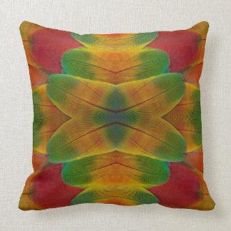 Macaw parrot feather kaleidoscope throw pillow