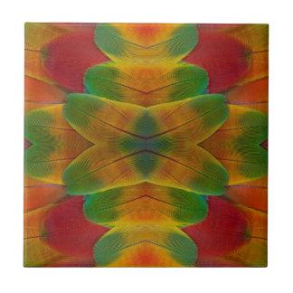 Macaw parrot feather kaleidoscope tile