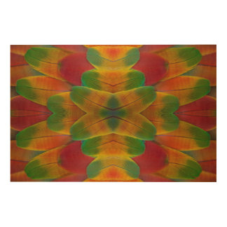 Macaw parrot feather kaleidoscope wood print