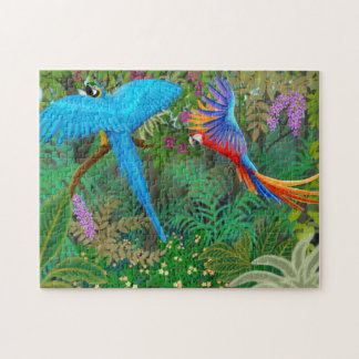 Macaw Parrots in Central American Jungle Puzzle
