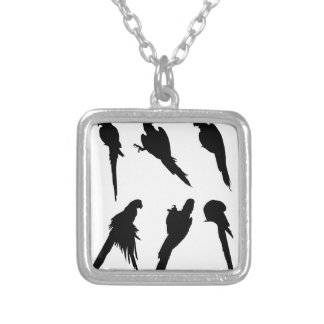 Macaw Silhouette Set Silver Plated Necklace