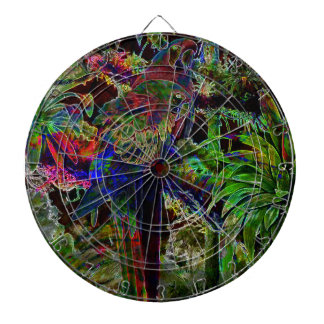 Macaws In Tropical Paradise At Night Dartboard