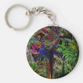 Macaws In Tropical Paradise At Night Keychain