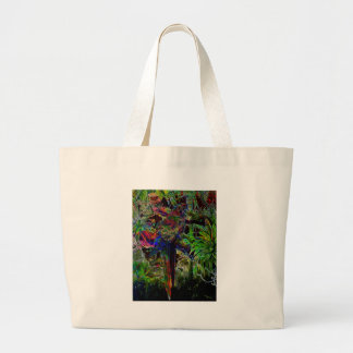 Macaws In Tropical Paradise At Night Large Tote Bag