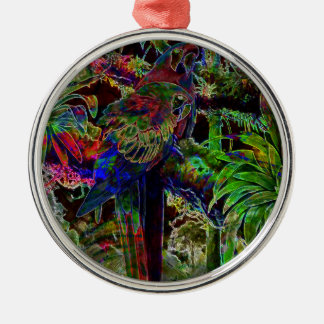 Macaws In Tropical Paradise At Night Metal Ornament