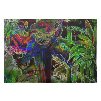 Macaws In Tropical Paradise At Night Placemat