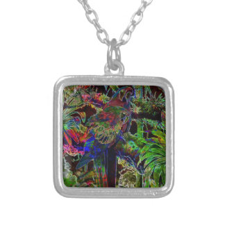 Macaws In Tropical Paradise At Night Silver Plated Necklace