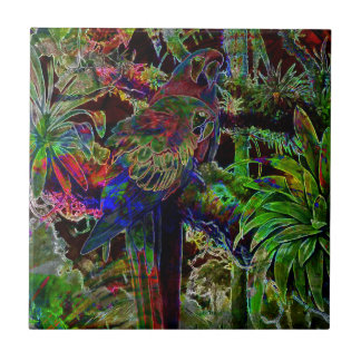 Macaws In Tropical Paradise At Night Tile