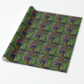 Macaws In Tropical Paradise At Night Wrapping Paper