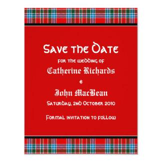MacBean Ancient Tartan Wedding Save the Date Card