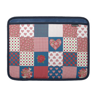 MacBook Air Sleeve, Faux-Patchwork, Hearts, Roses