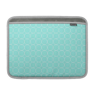 Macbook Aqua White Circles Pattern MacBook Sleeve