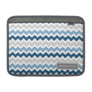 Macbook Blue Ombre Chevron Custom Name Sleeve For MacBook Air