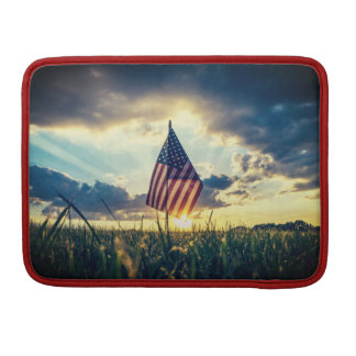MacBook Case Sunset behind the American Flag