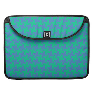 MacBook Pro Sleeve, Emerald and Blue Dogtooth Sleeve For MacBook Pro