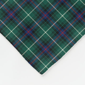 MacDonald Clan Forest Green and Royal Blue Tartan Fleece Blanket