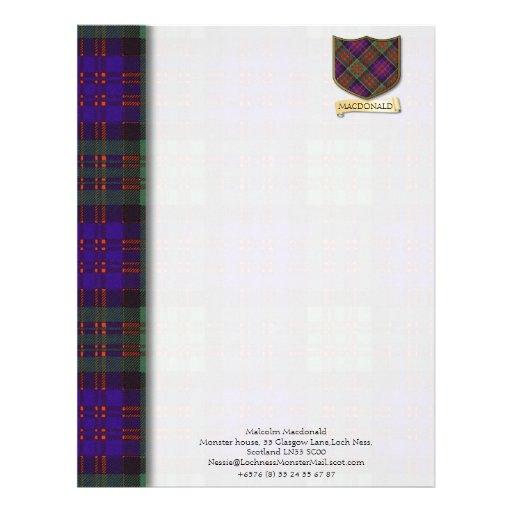 Macdonald tartan design paper customized letterhead