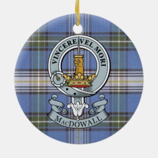 MacDowall Crest + Tartan Circle Ornament